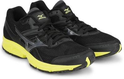 Mizuno Spark Running Shoes For Men(Black, Yellow)  available at flipkart for Rs.1889