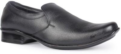 Leather King Black Slip On For Men(Black)