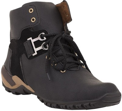 Desi Saga Boys Lace Casual Boots(Black)