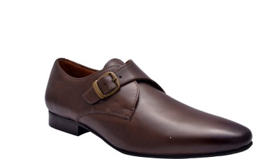 Hirel's Mens Brown Monk Strap Shoes For Men(Brown)