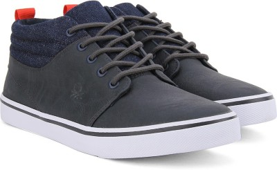 United Colors of Benetton Men Mid Ankle Sneakers(Black, Navy, White) at flipkart