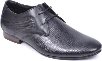 Peponi Exquisite Modish Men's Formal Leather Lace Up Shoes For Men(Black)