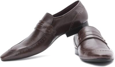 Franco Leone Genuine Leather Slip On Shoes For Men(Brown)