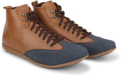 Knotty Derby Thomas Hiking Brogue Casual Shoes For Men(Blue, Tan)