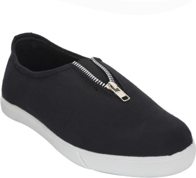 Advin England Black Zip Canvas Shoes For Women(Black)