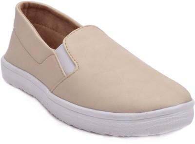 Advin England Cream Slip On Sneakers For Women(Natural)