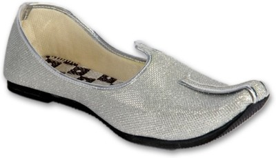 Panahi Silver Colour Synthetic Leather Men Ethnic Wear Slip On Jutis Party Wear For Men(Silver)