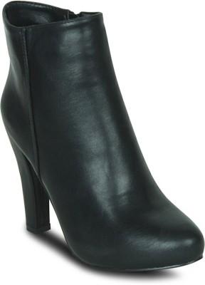 Get Glamr Basic Block Boots(Black) at flipkart