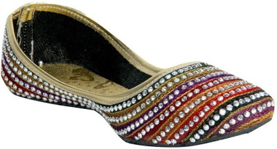 Panahi Multi-Coloured Synthetic Lehariya Slip On Jutis Casuals For Women(Multicolor)
