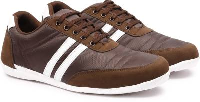 Andrew Scott Men's Brown Nylon/Synthetic Sneakers For Men