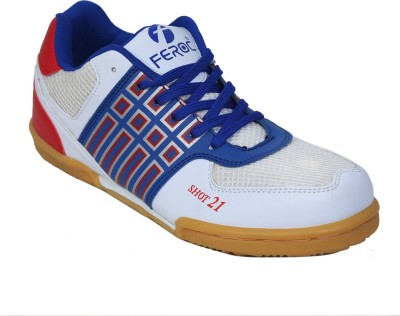 FEROC SHOT 21 W.R Unisex Tennis,Vollyball Badminton Shoes For Men White FEROC Sports Shoes