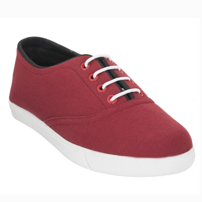 Advin England Red White lace Canvas Shoes For Women(Red)