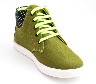 TheWhoop Mens High Ankle Olive Casual Shoes Sneakers For Men(Green)  available at flipkart for Rs.449