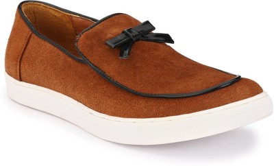 zeboot Suede bow slip on Loafers For Men(Tan, Black)