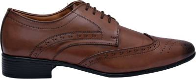 Hirel's Brown Stylish Derby Brogues Lace Up Shoes