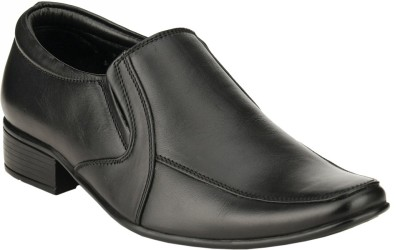 GAI Black Leather Formal Slip On Shoes For Men(Black)