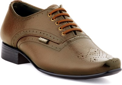 Zebra High Defination Men's 100% Pure S.Leather Brown Oxford Brogue Shoes Lace Up For Men(Brown)