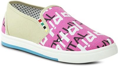 Get Glamr Designer Slip Ons Canvas Shoes For Women(Pink)