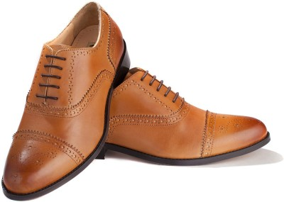 Walker Styleways Excellent Tan Leather Brogue Lace Up Shoes(Tan) at flipkart