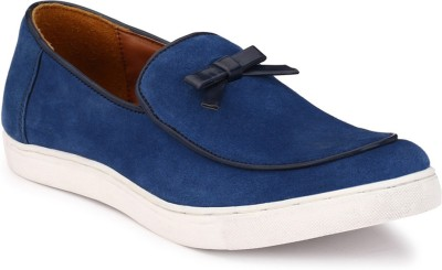 zeboot Suede bow slip on Loafers For Men(Blue, Black)