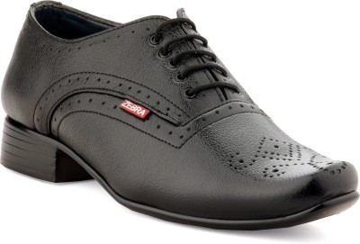 Zebra High Defination Men's 100% Pure S.Leather Black Oxford Brogue Shoes Lace Up For Men(Black)