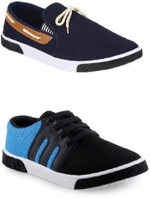 World Wear Footwear Combo-417 347-6 Casuals For Men(Black, Blue)