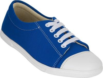 Advin England Blue White Lace Canvas Shoes For Women(Blue, White)