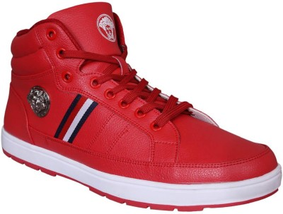 M & M Red Anklet Sneakers For Men(Red)