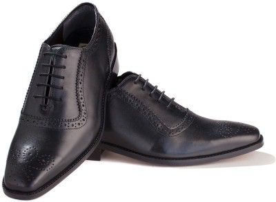 Walker Styleways Exquisite Black Leather Brogue Lace Up Shoes(Black) at flipkart