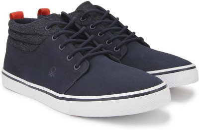 United Colors of Benetton Men Mid Ankle Sneakers(Navy, White) at flipkart