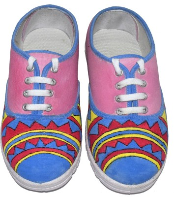 Sona Mona Creations Hand Painted Canvas Shoes For Women(Pink) at flipkart