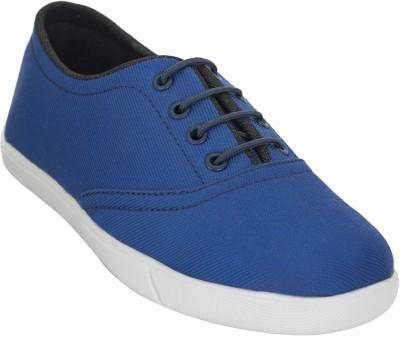 Advin England Blue Black lace Canvas Shoes For Women(Blue)
