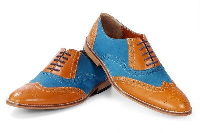 Bxxy Wingtip Oxford Tan-Blue British Brogues Casuals For Men(Tan, Blue)