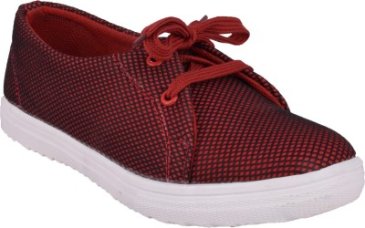 Advin England Maroon Dotted Canvas Shoes For Women(Maroon)