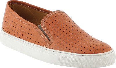 zeboot Perforated slip on Casuals For Men(Tan)