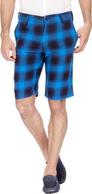 Urbantouch Checkered Men's Blue, Black Basic Shorts