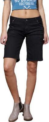 Roadster Solid Women Black Denim Shorts at flipkart