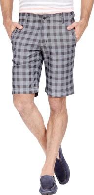 Urbantouch Checkered Men's Grey, Black Basic Shorts