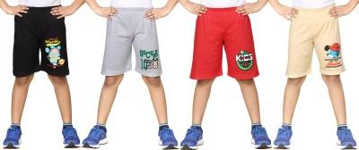 Dongli Short For Boys Cotton Linen Blend, Cotton Nylon Blend, Cotton Linen Blend(Black, Pack of 4)