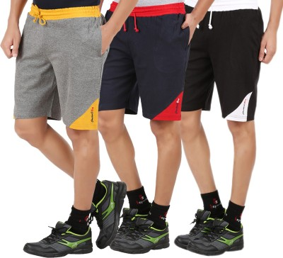 Checkersbay Solid Men Dark Blue, Black, Grey Sports Shorts