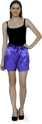 Patrorna Solid Women's Blue Basic Shorts at flipkart