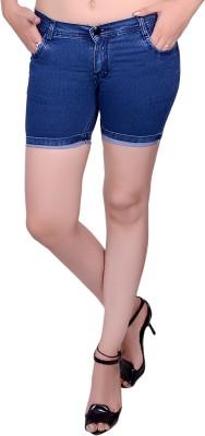 Nifty Solid Women's Denim Blue Denim Shorts