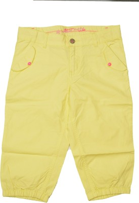 GJ Jeans Unltd Short For Girls Solid Cotton Linen Blend, Nylon Blend, Cotton Linen Blend(Yellow)