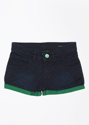 United Colors of Benetton. Printed Dark Blue Basic Shorts at flipkart