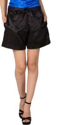 Patrorna Solid Women's Black Basic Shorts at flipkart