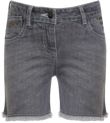 UFO Embellished Women Grey Denim Shorts at flipkart