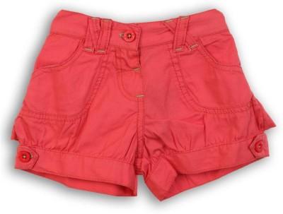 Lilliput Short For Girls Solid Cotton Linen Blend, Cotton Nylon Blend, Cotton Linen Blend(Red)
