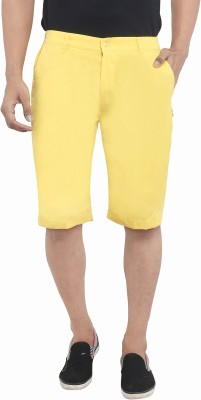 Ashdan Solid Men's Yellow Chino Shorts  available at flipkart for Rs.299