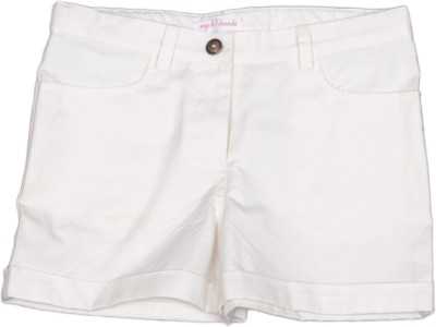 My Little Lambs Short For Girls Solid Cotton Linen Blend, Nylon Blend, Cotton Linen Blend(White, Pack of 1)