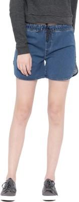 HRX by Hrithik Roshan Solid Women Blue Denim Shorts at flipkart